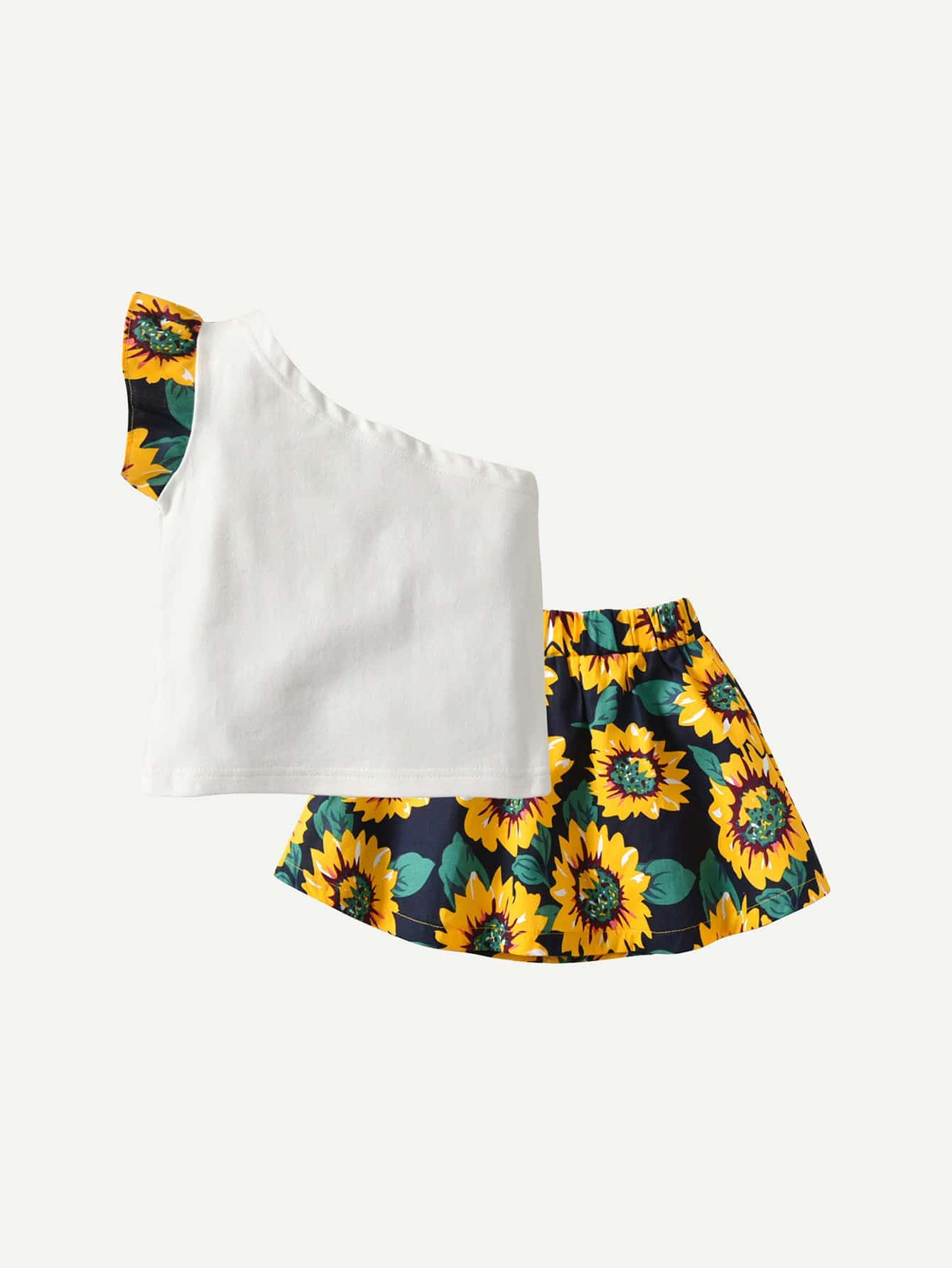 Купить Блузка на бретелях и юбка с рисунками подсолнухов для девочки, null, SheIn