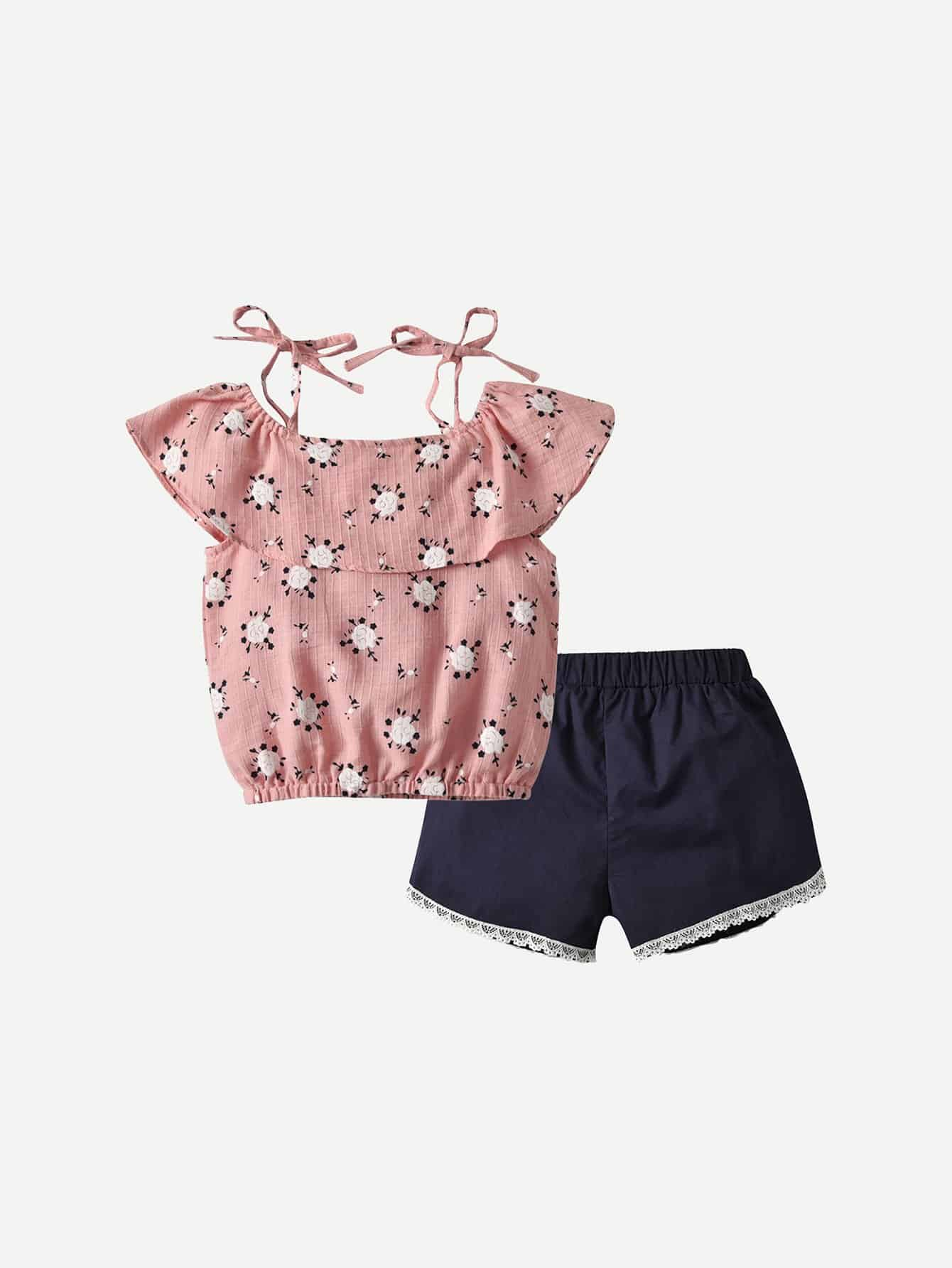 Girls Floral Print Cami Top With Contrast Lace Shorts floral print crop cami top with shorts