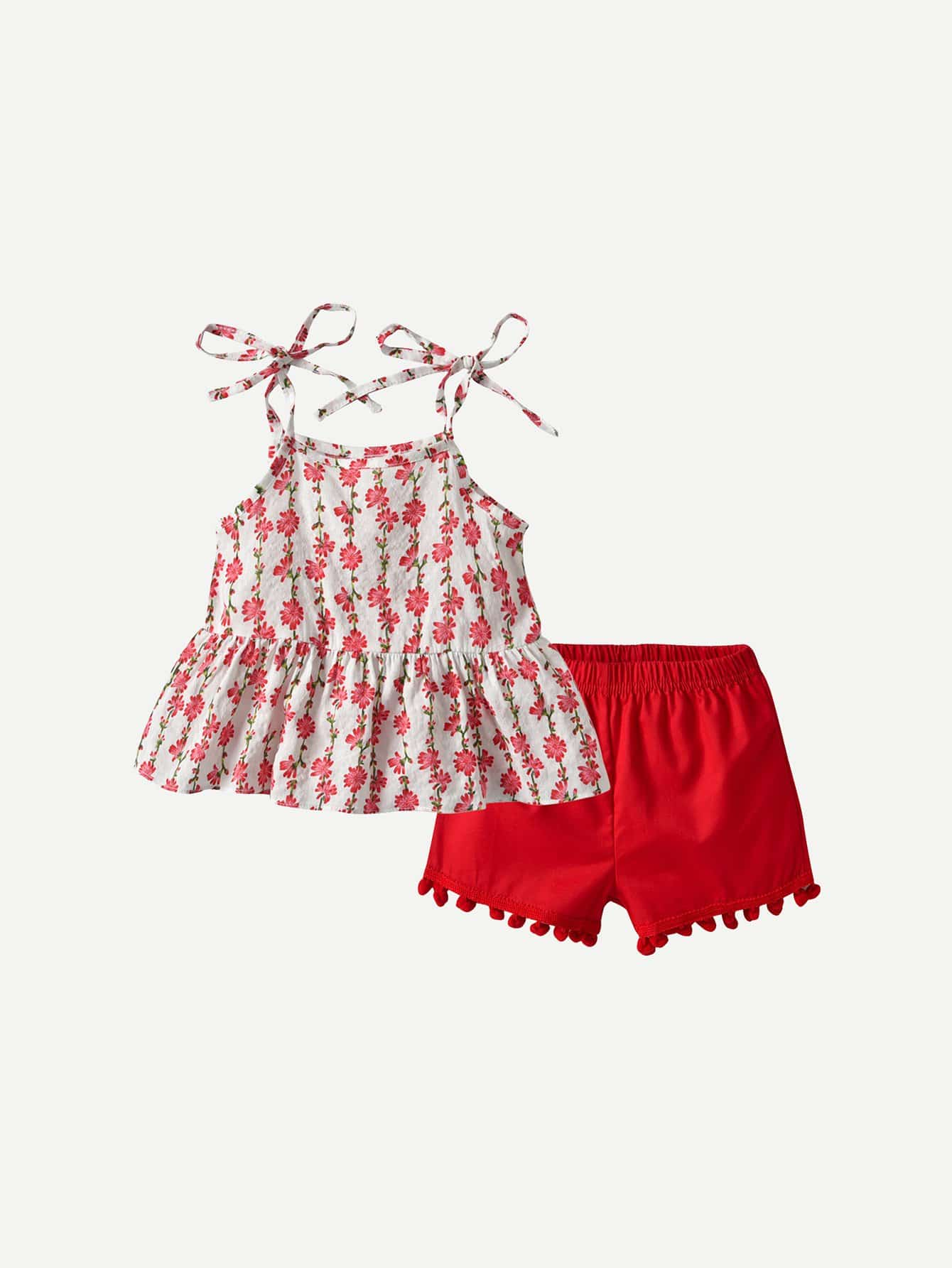 Купить Ситцевая блузка на бретелях и полосатые шорты для девочки, null, SheIn