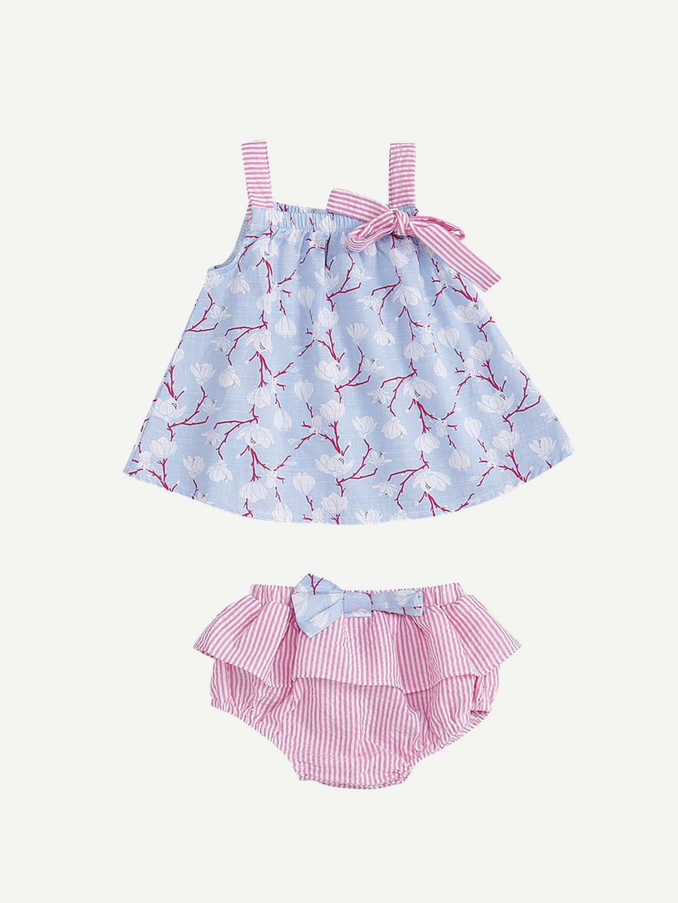 Girls Floral Print Cami Top With Ruffle Striped Shorts floral print crop cami top with shorts