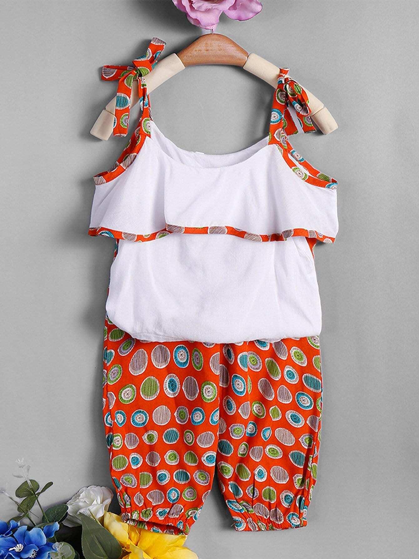 Купить Блузка на бретелях с кружевными оборками и брюки с рисункаи точк для девочки, null, SheIn
