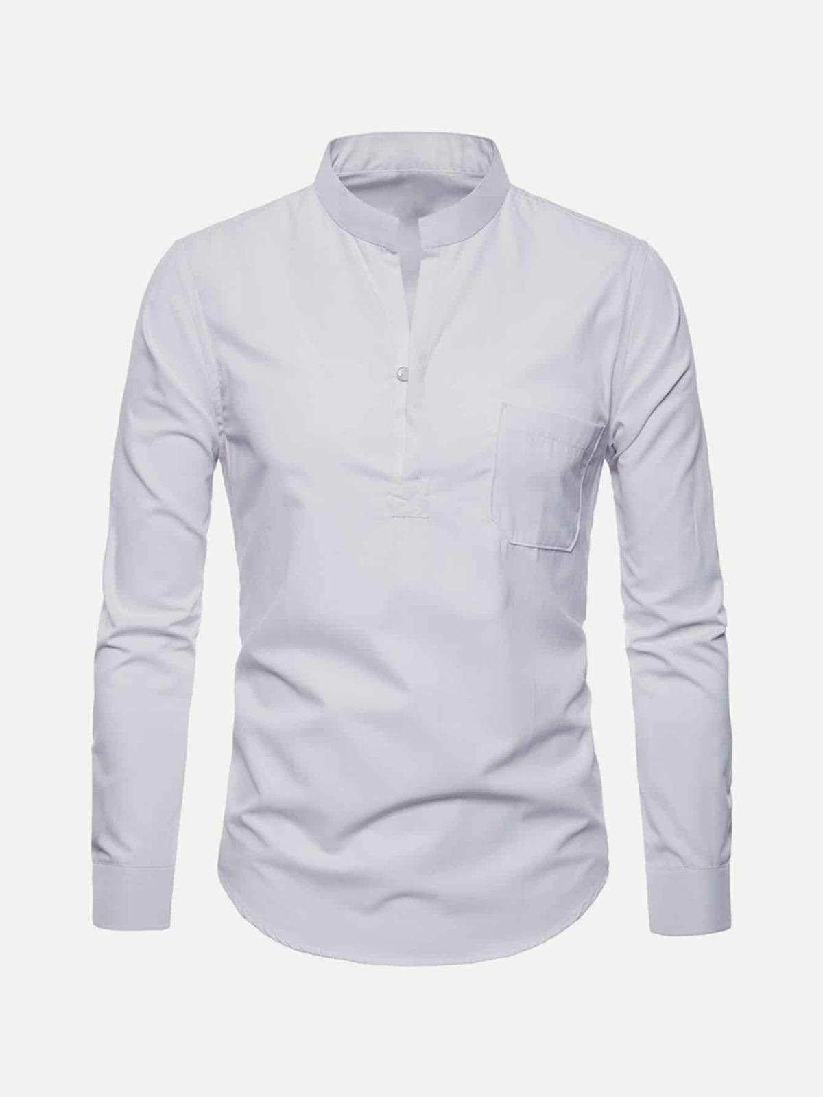 男人 曲線 下擺 立領 單色 襯衫