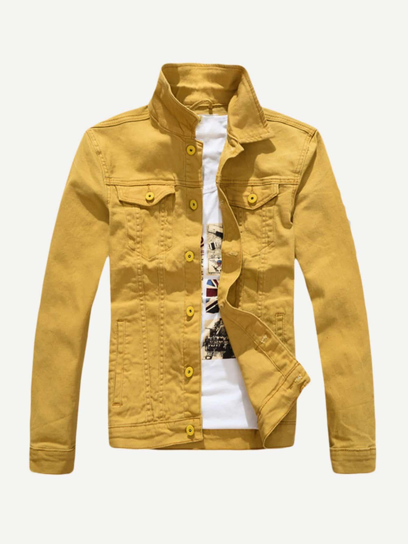 Мужчины Сплошной Деним Куртка