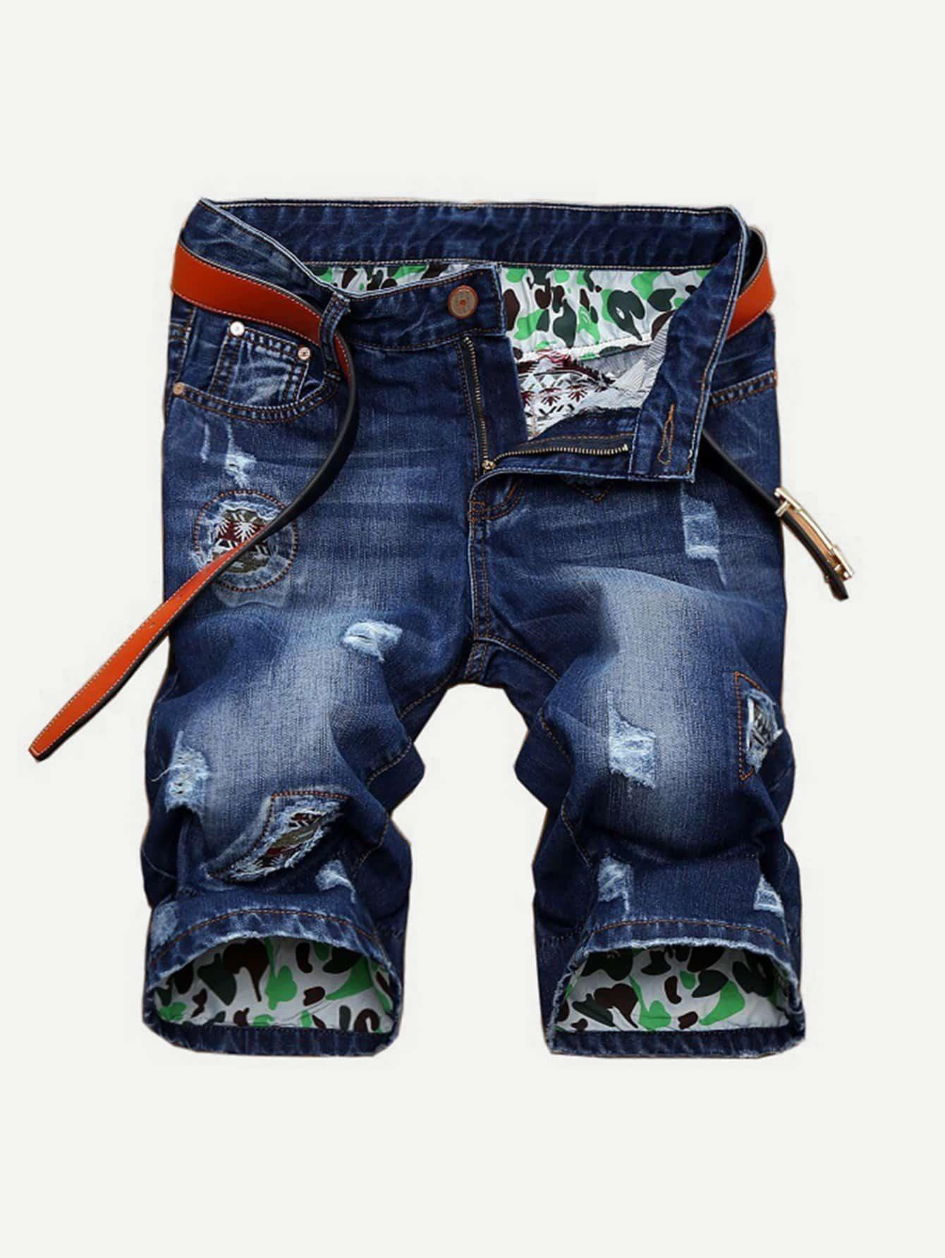 цена на Men Ripped Denim Shorts