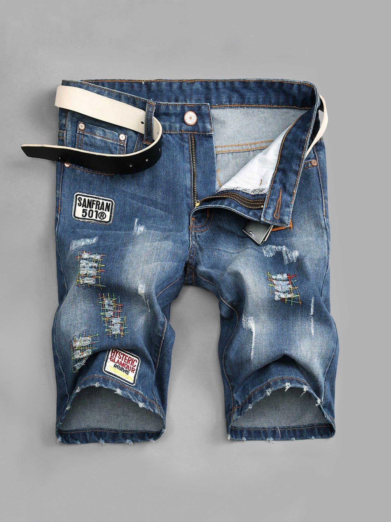 цена на Men Patched Detail Ripped Denim Shorts