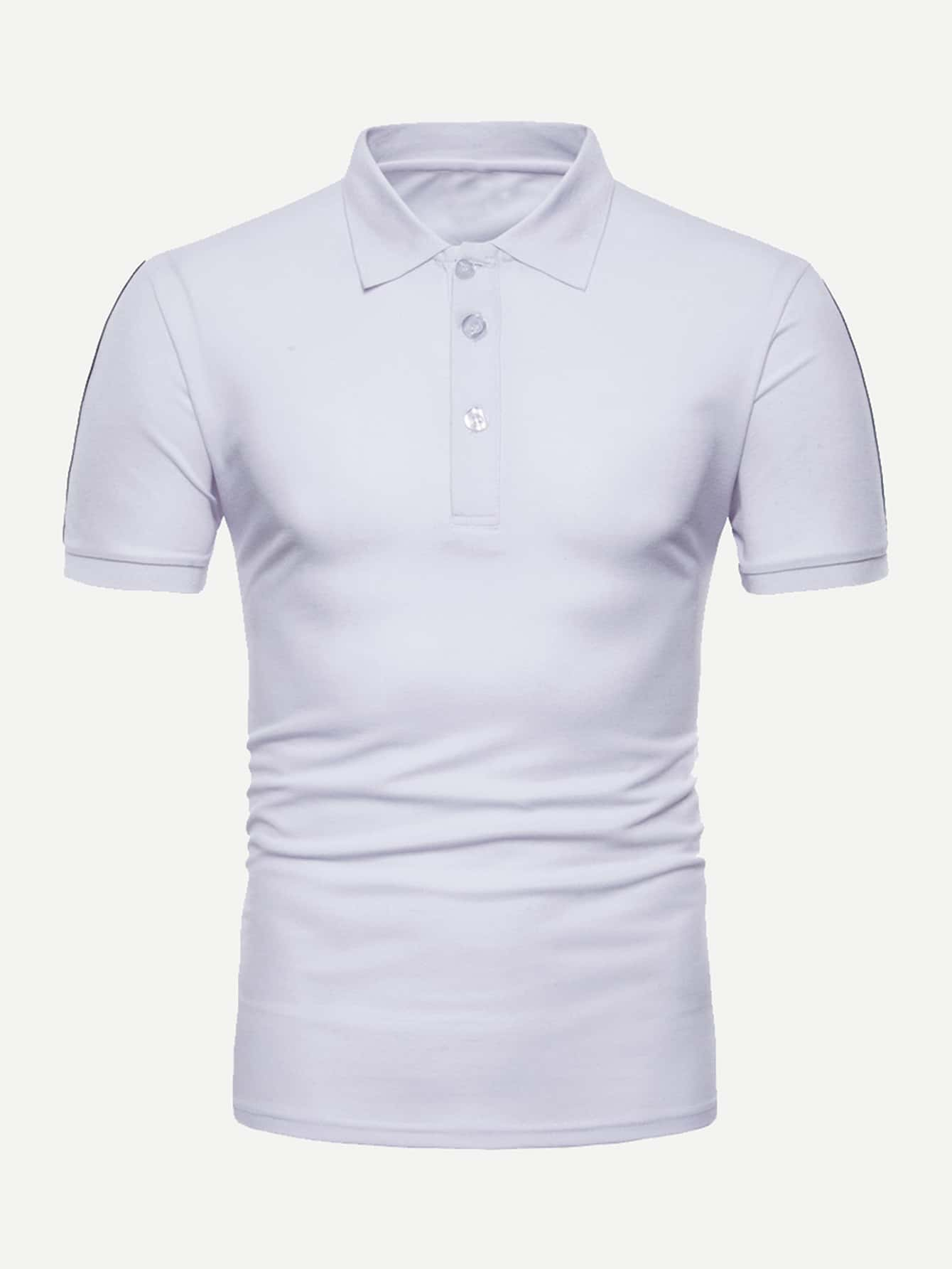 Men Ribbon Tape Detail Solid Polo Shirt