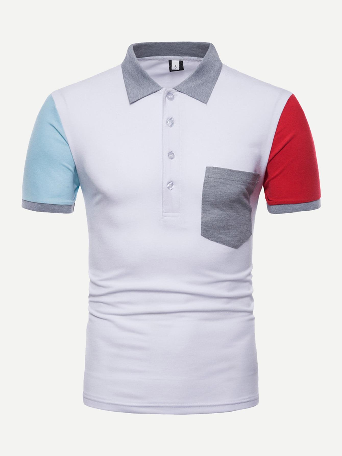 Men Pocket Detail Color Block Polo Shirt