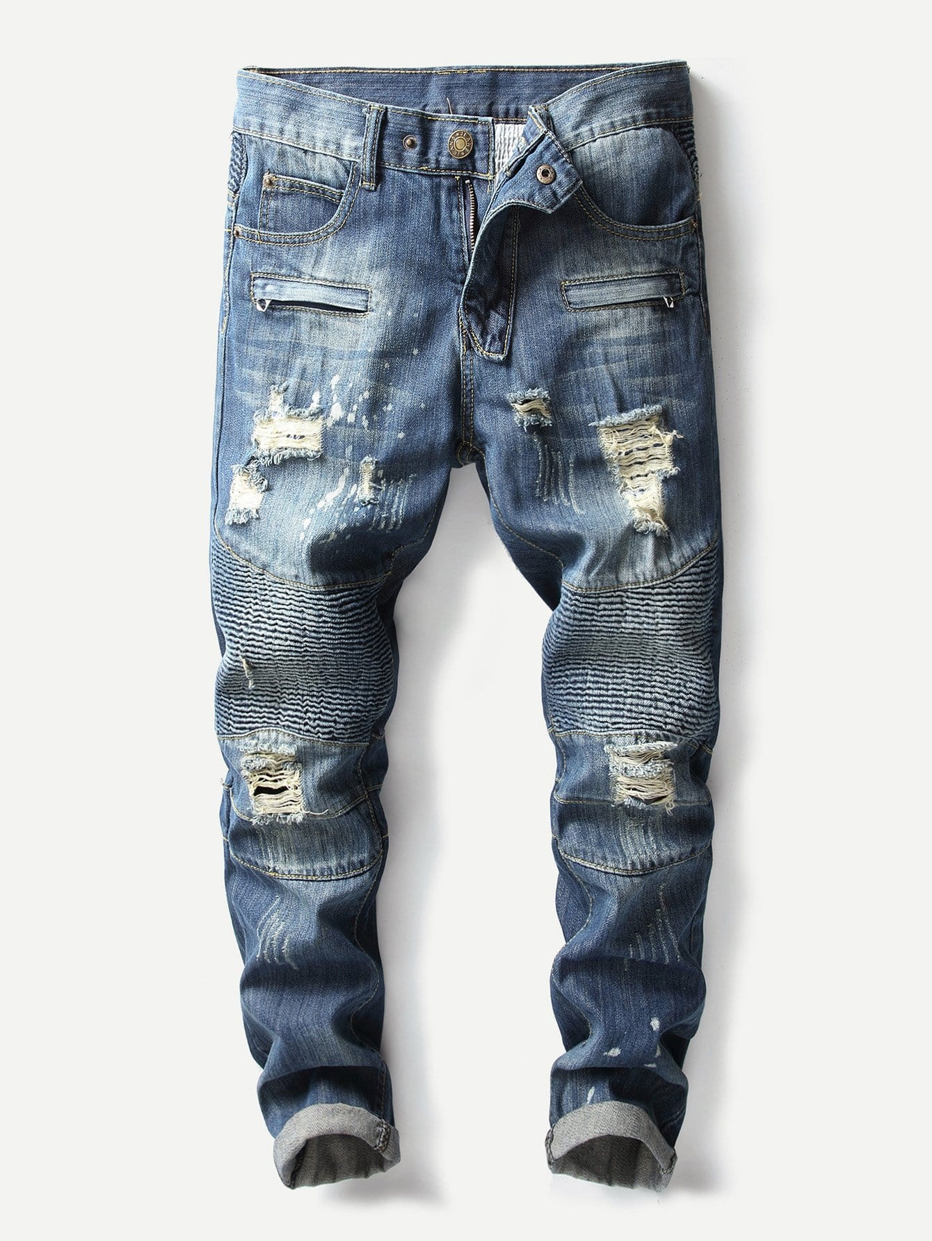 Men Ripped Biker Jeans chinese traditional handcrafted bamboo flute e key