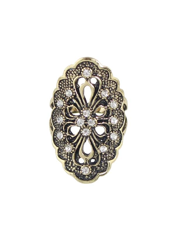 Gold-7 Rhinestone Hollow Out Flower Finger Rings