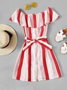 Off Shoulder Tie Waist Striped Dress