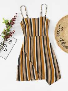 Knot Back Wrap Striped Cami Dress