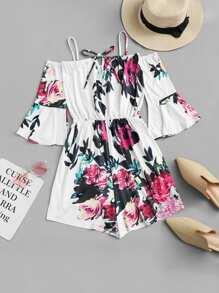 Floral Print Flounce Sleeve Romper