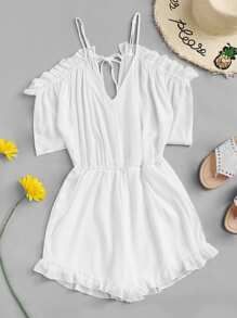 Tie Neck Frill Trim Solid Romper