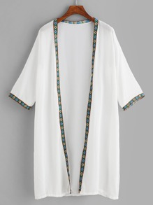 Contrast Trim Open Front Kimono
