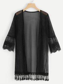 Mesh Panel Sleeve Fringe Hem Kimono