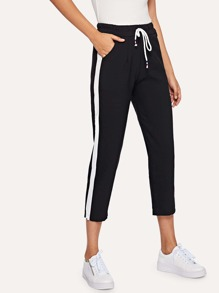 Striped Tape Side Drawstring Waist Pants