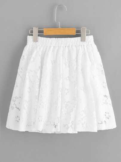 Romwe / Lace Drawstring Waist Skirt