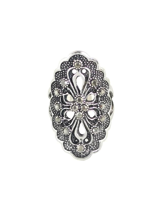 Silver-7 Rhinestone Hollow Out Flower Finger Rings