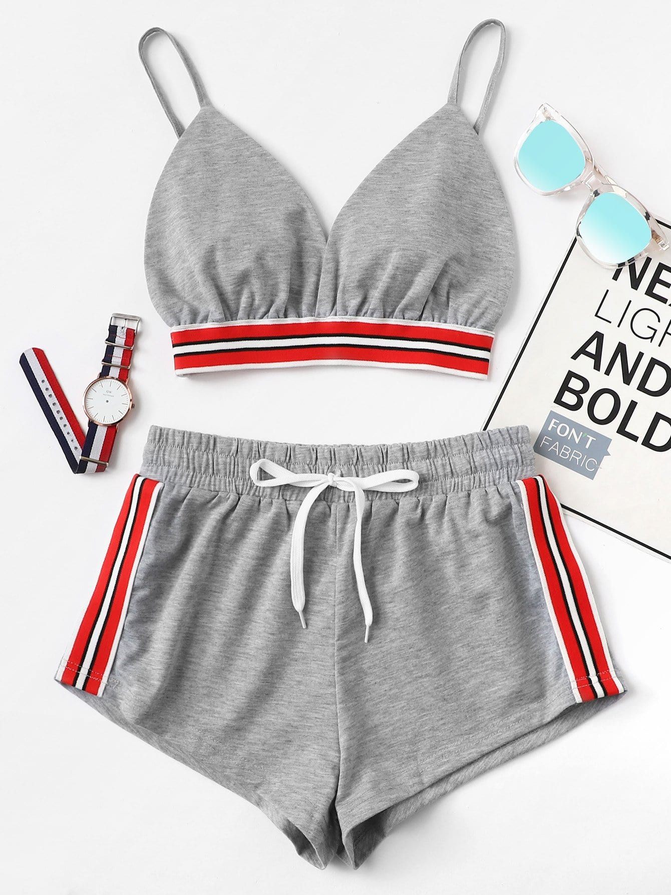 Striped Tape Panel Cami Top With Shorts