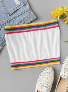 Colorful Striped Tape Panel Tube Top