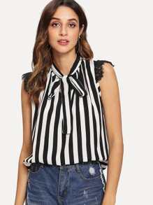 Lace Trim Tie Neck Striped Blouse