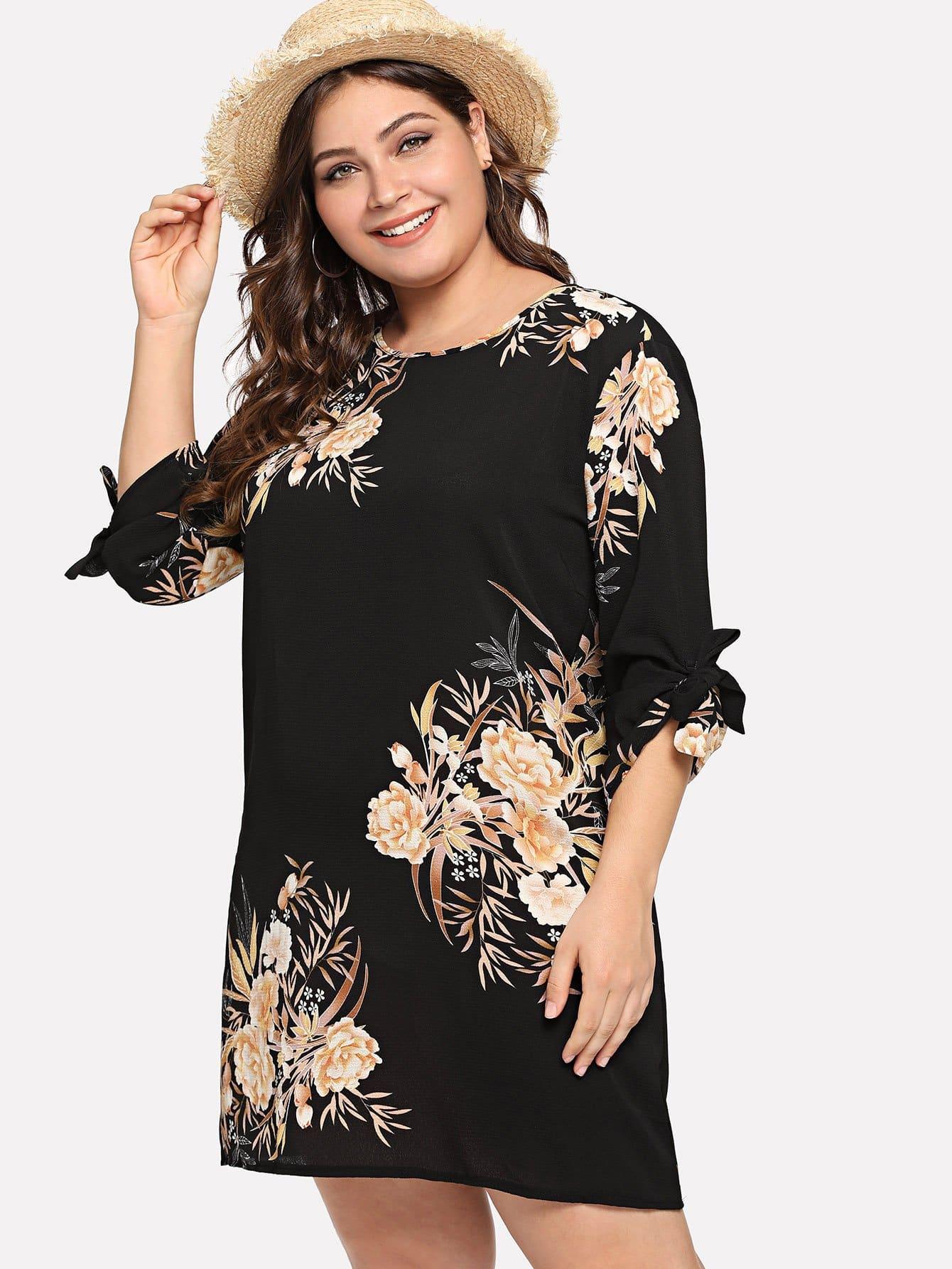 Купить Элегантный Цветочный с бантом Чёрные Платья большого размера, Carol, SheIn