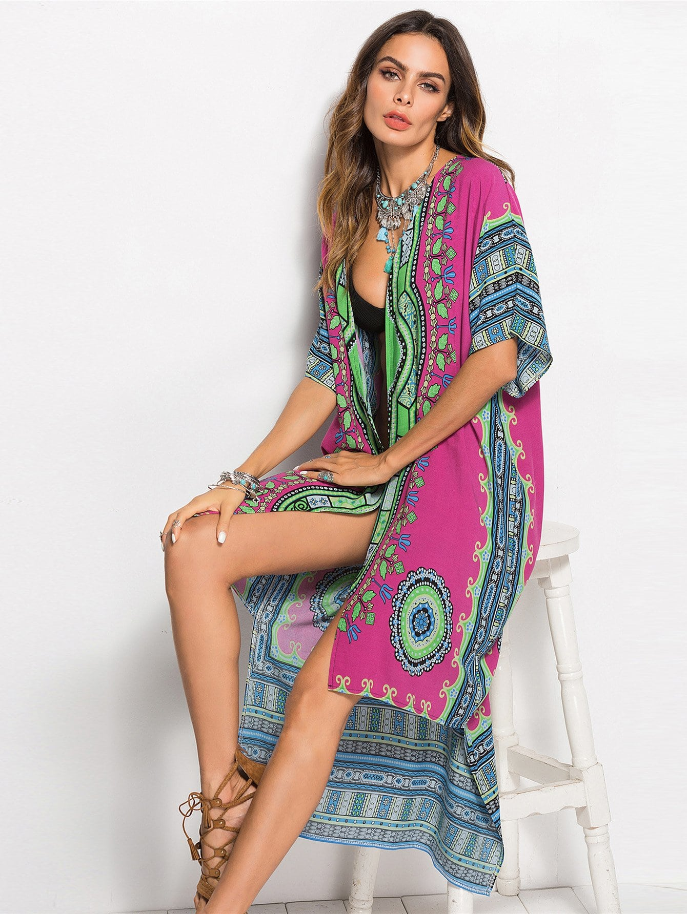 Купить Отпускнойстиль Геометрический Асимметричный кимоно Многоцветные Кимоно, Andy, SheIn