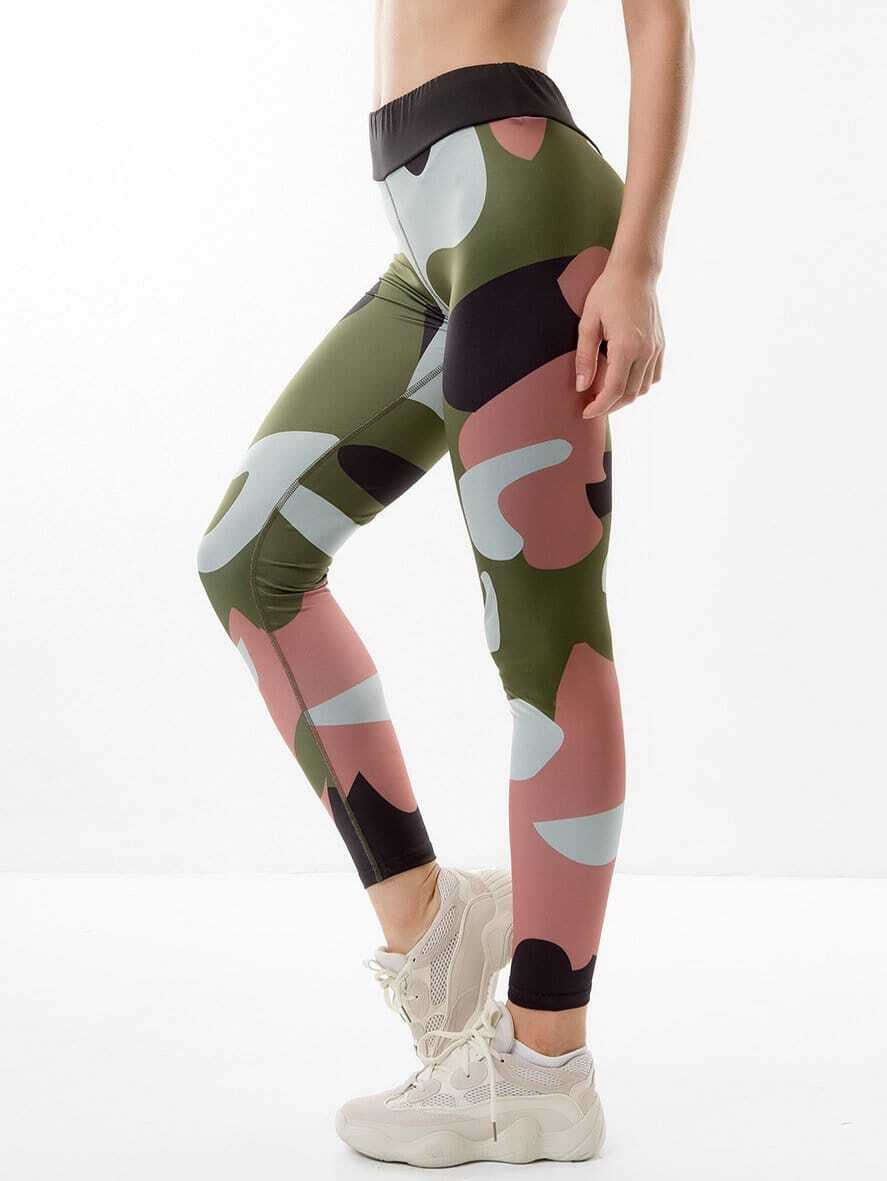 Camo Skinny Leggings high waist camo print skinny leggings