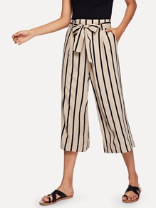 Self Tie Waist Striped Wide Leg Pants