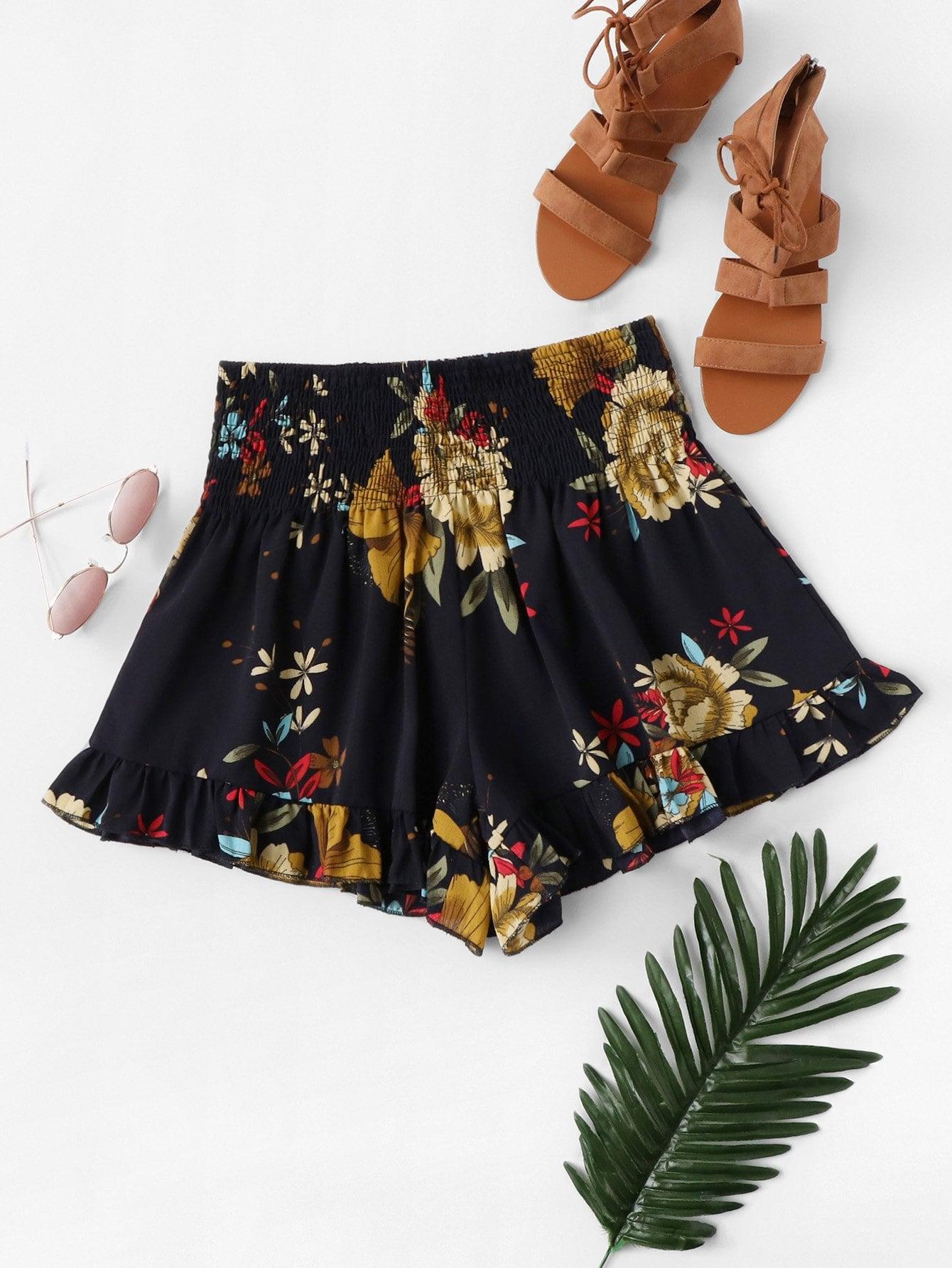 Ruffle Hem Floral Shorts ruffle hem solid shorts