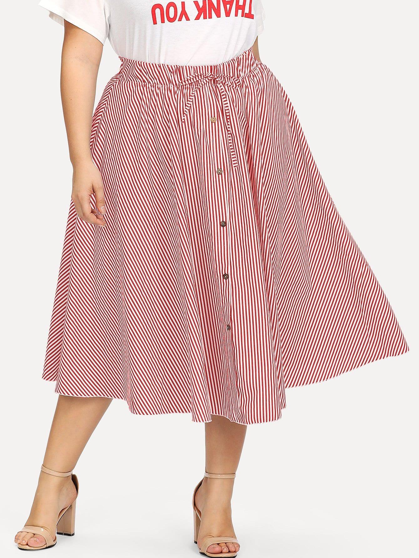Plus Drawstring Waist Striped Single Breasted Skirt