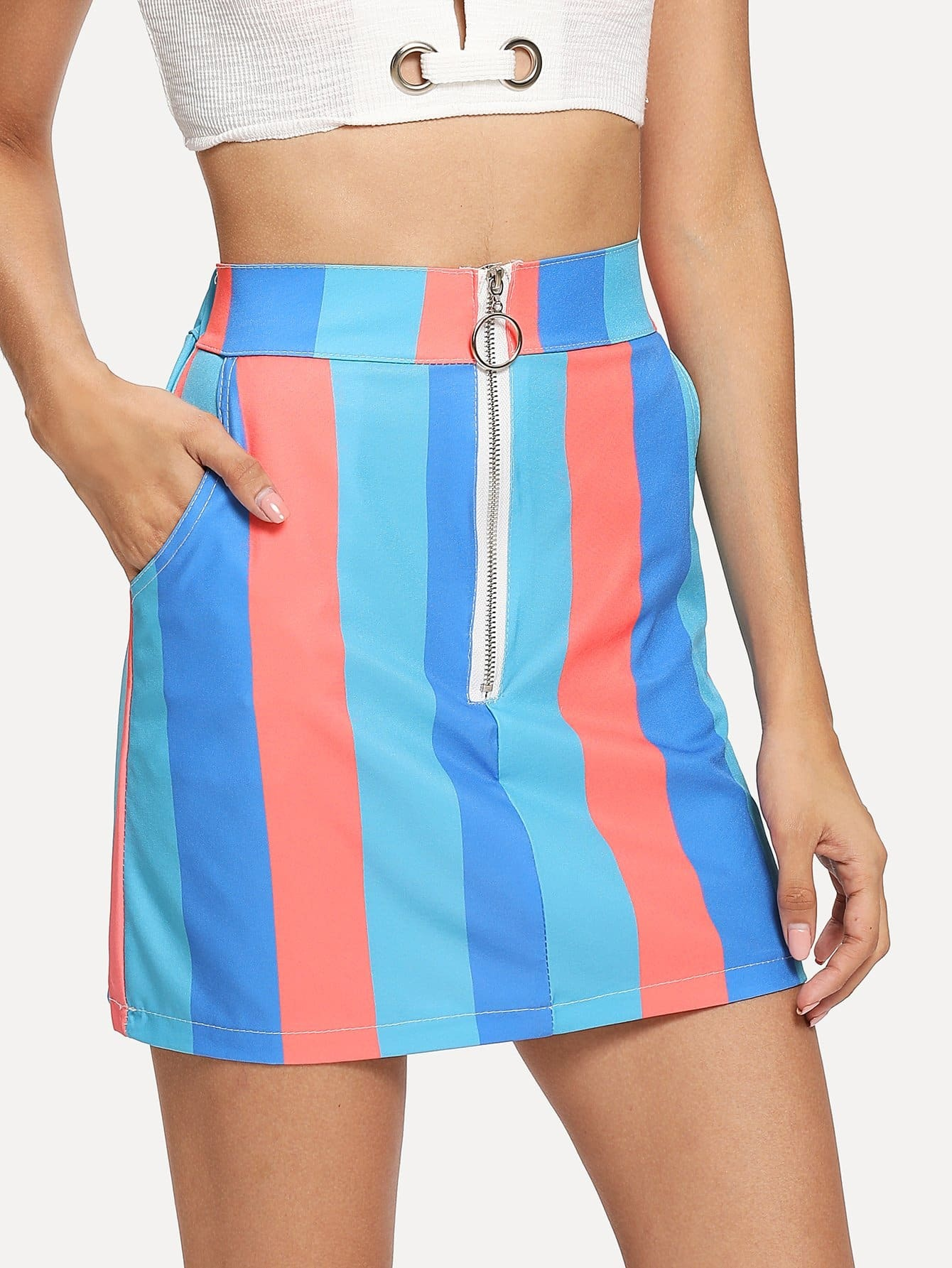 Купить Мини-юбка с застежкой из нескольких цветов, Gabi B, SheIn
