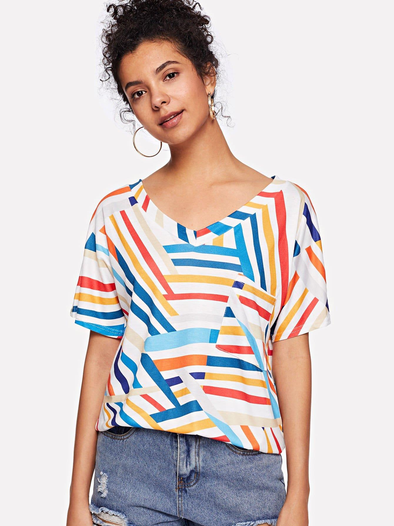 Купить Полосатая футболка с украшением кармана, Starl Lane, SheIn