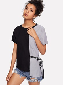 Contrast Striped Knot Side Tee