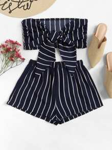 Striped Bow Tie Front Crop Top With Shorts