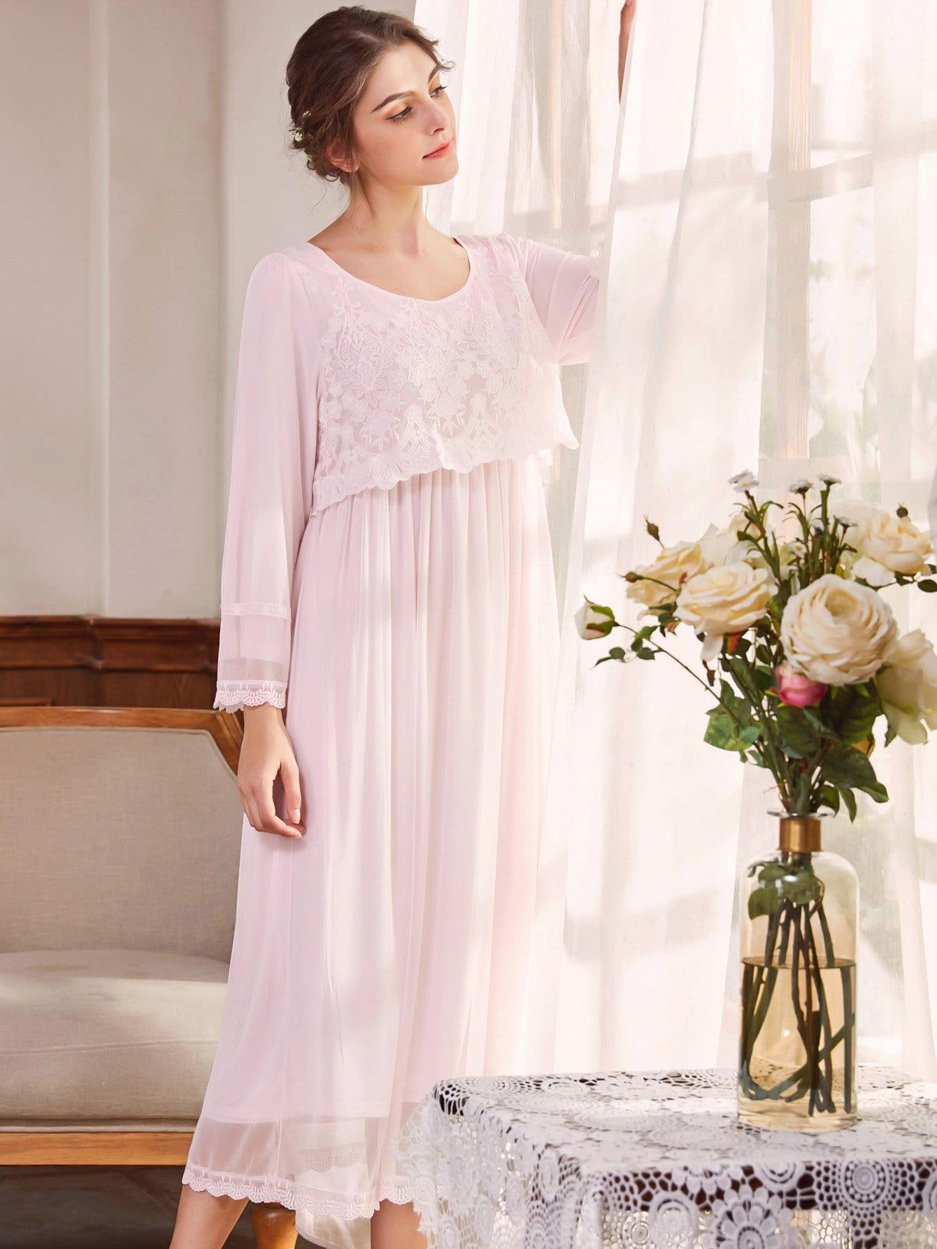 Купить Плиссированная ситцевая ночная сорочка, null, SheIn