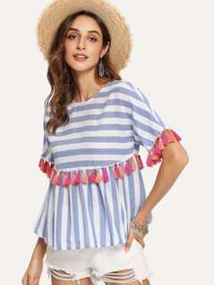 Keyhole Back Tassel Trim Striped Top