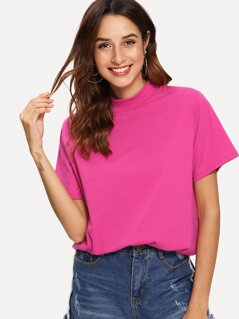 Neon Pink Stand Neck Solid Tee
