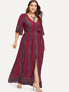 Plus Tied V-Back Split Tribal Print Dress