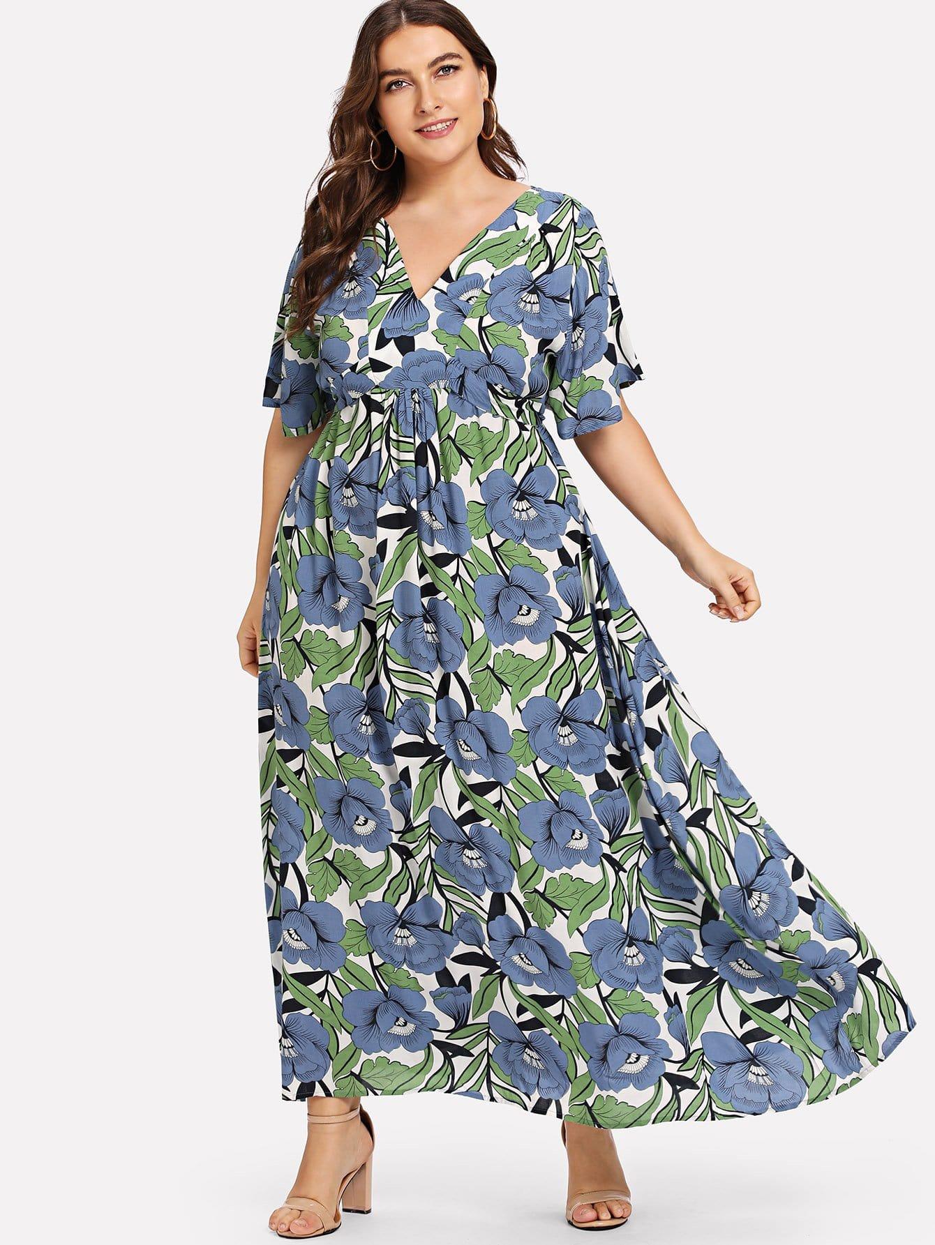 Купить Цветочная печать империи талии платье, Franziska, SheIn