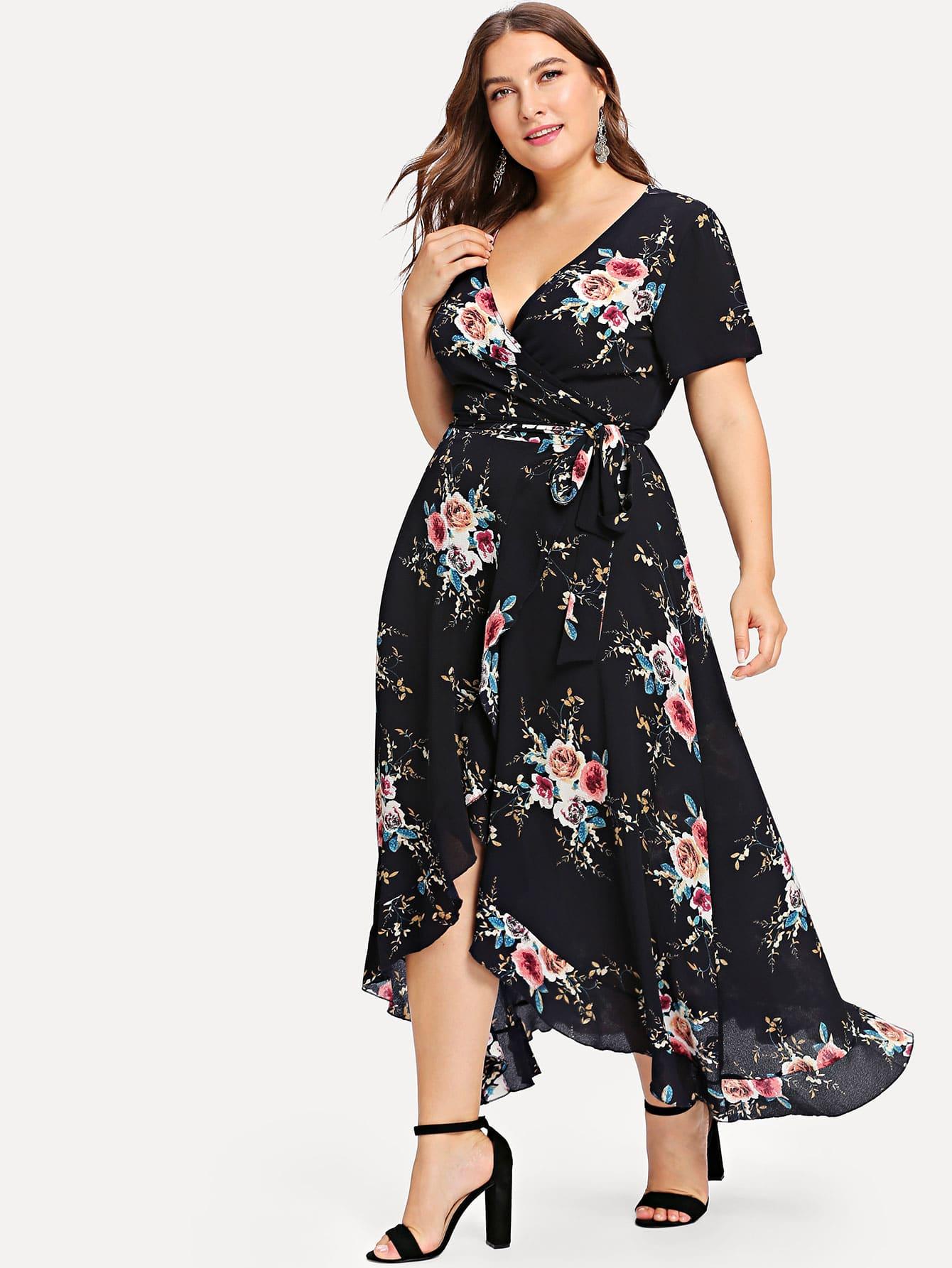 Plus Asymmetric Ruffle Hem Botanical Wrap Dress wrap front tied v back ruffle hem dress