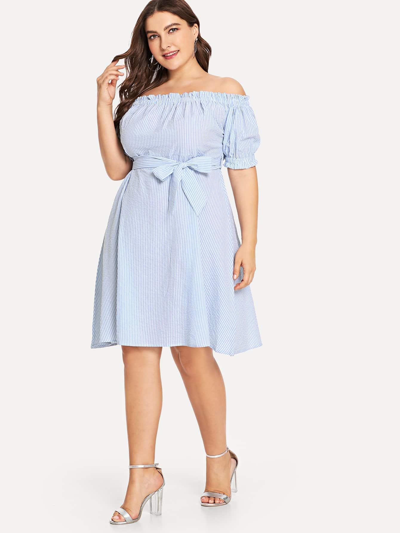 Plus Frilled Off Shoulder Striped Dress цена 2017