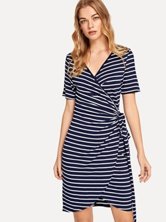 Knot Side Striped Wrap Dress