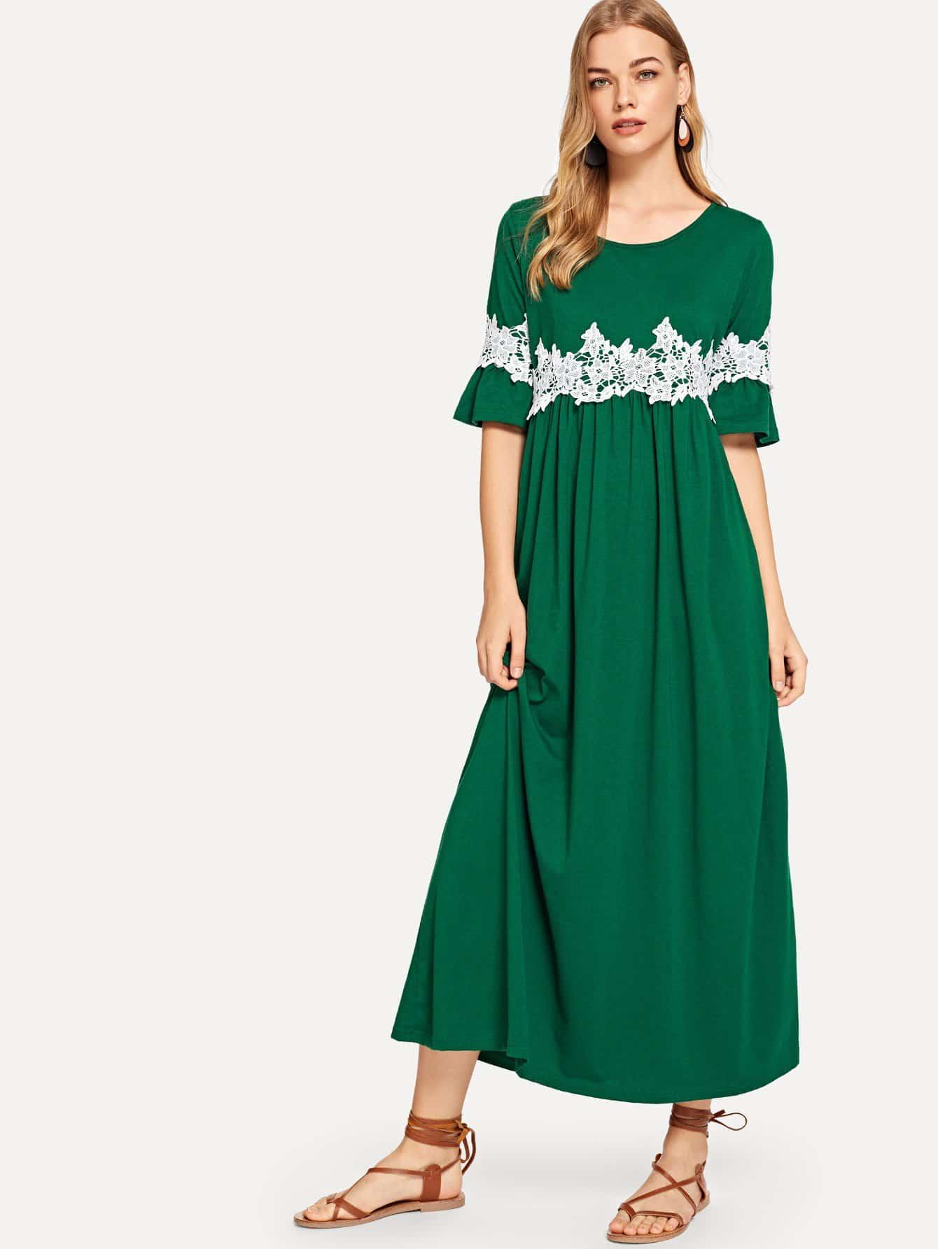 Купить Платье аппликационного кружевного флиса с флисом, Teresa, SheIn