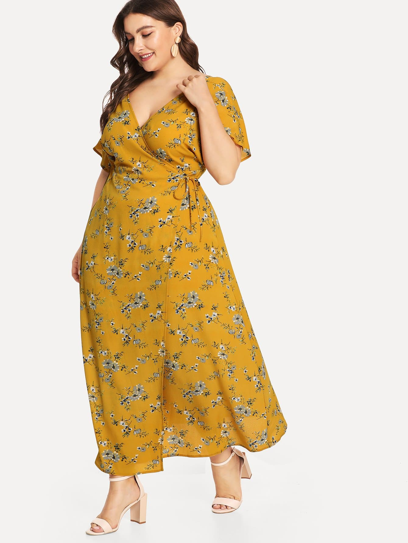 Купить Платье для печати с двойным V-образным вырезом, Franziska, SheIn