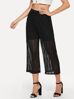 Waist Drawstring Solid Pants