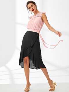Knot Side Overlap Ruffle Hem Skirt