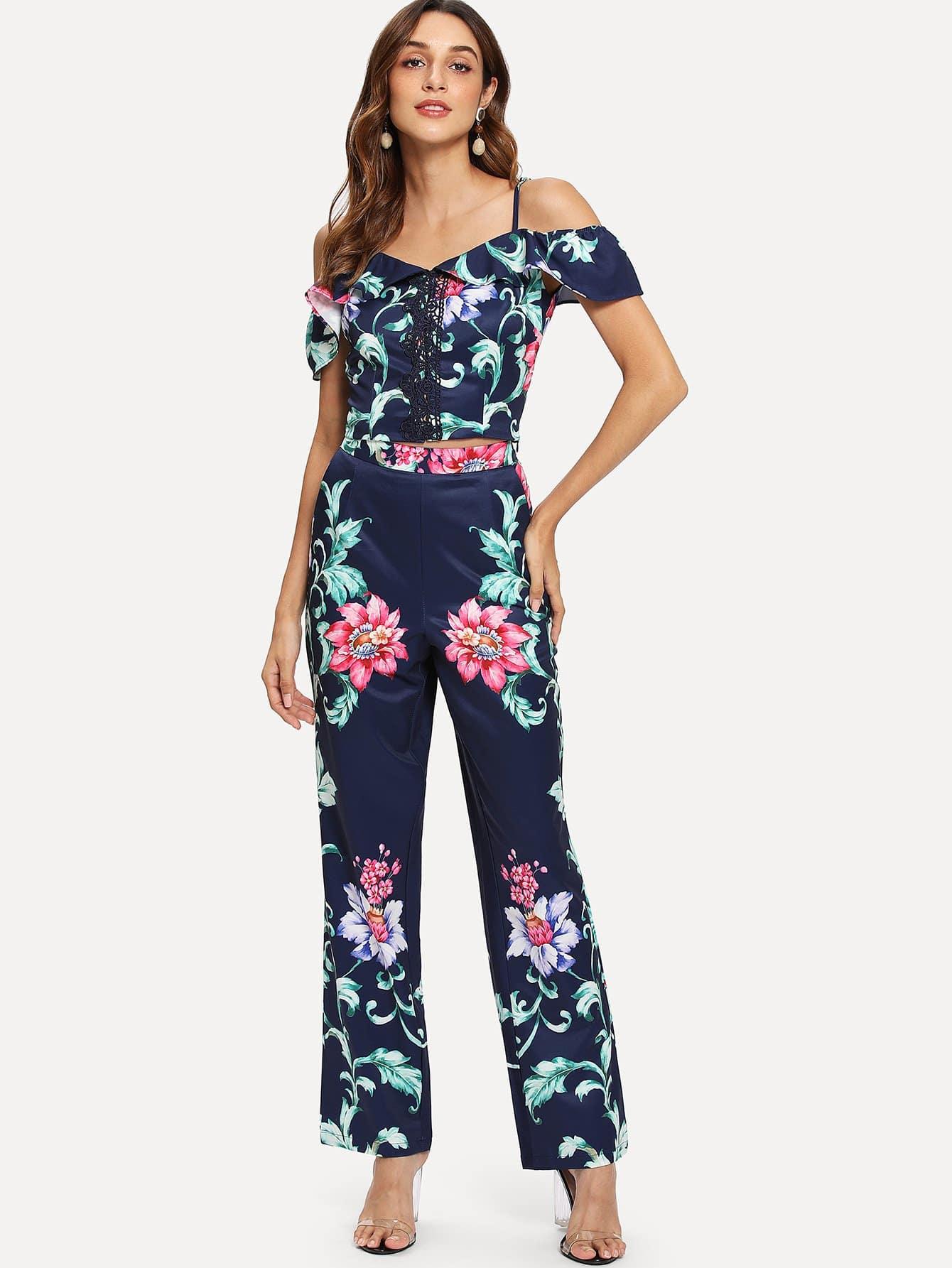 Купить Комплект топ с открытыми плечами в цветочек и брюки, Gabi B, SheIn