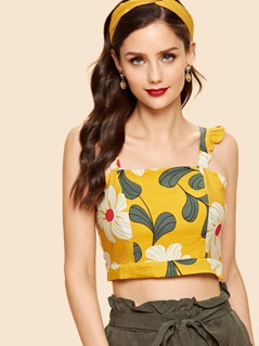 Floral Print Crop Top with Ruffle Strap