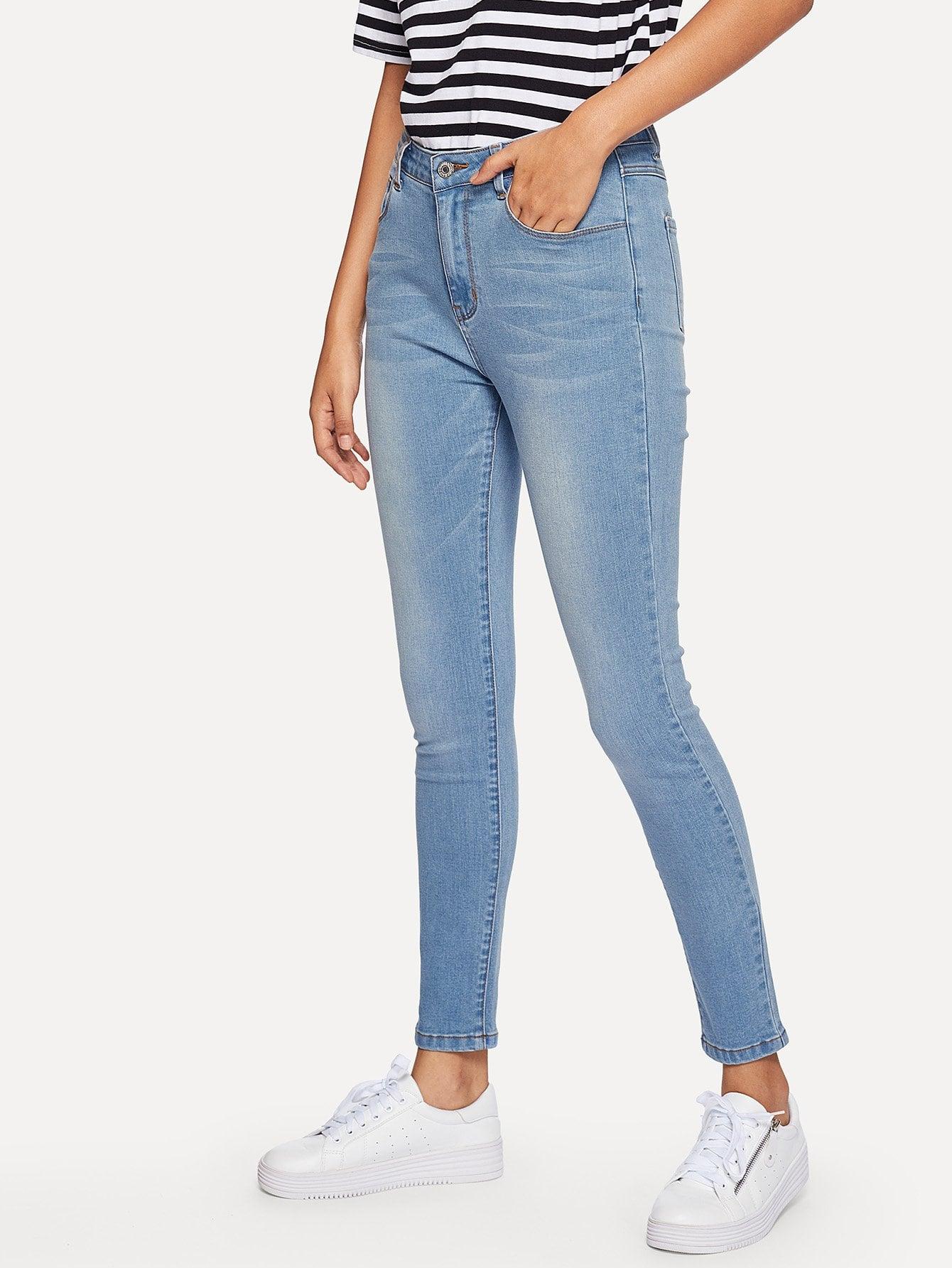 Купить Карманные пятнистые тощие джинсы, Starl Lane, SheIn